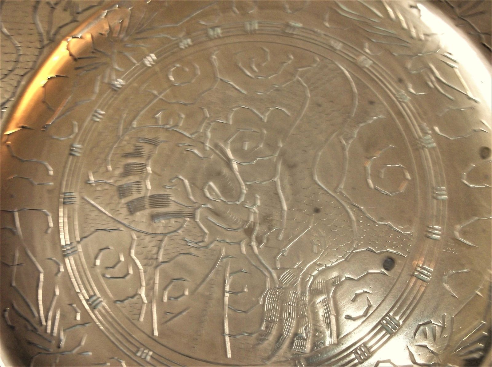 Vintage Solid Brass Plate Oriental Chinese Chased Dragon